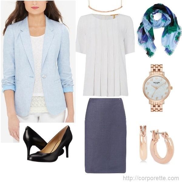 work-outfit-idea-light-blue-linen-blazer-with-pencil-skirt