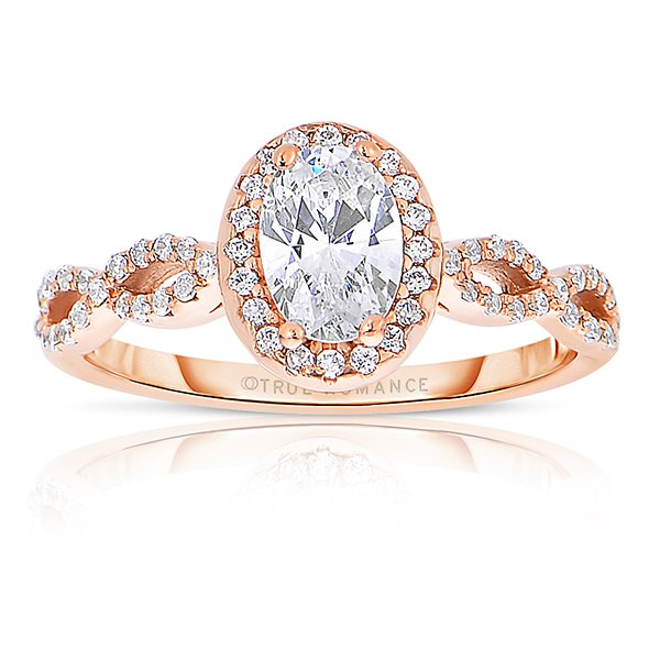 14k Rose Gold Oval Cut Halo Diamond Infinity Engagement Ring