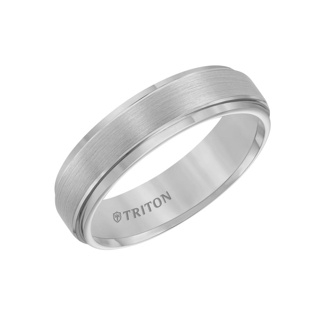 6Mm Comfort Fit  Grey Tungsten Wedding Band