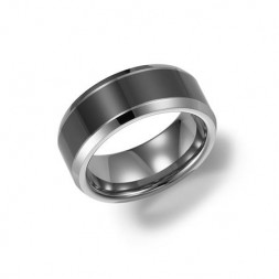 8Mm Comfort Fit  Ceramic Grey Tungsten Wedding Band