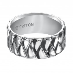 9Mm Sterling Silver Pattern Band