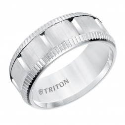 9Mm Comfort Fit White Tungsten  Wedding Band