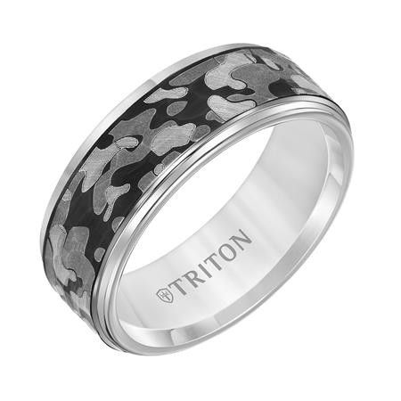 8mm Tungsten Band with Hammer center & Laser Back and Camo Pattern