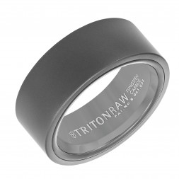 9Mm 'Tungsten Raw' Black Wedding Band