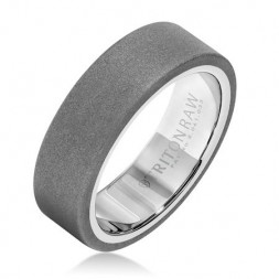 7Mm 'Tungsten Raw' White Tungsten  Wedding Band
