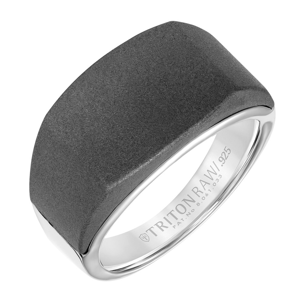 RAW Tungsten and Silver Signet Ring