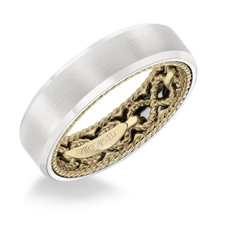 6Mm  Width Two Tone Man'S Carved Wedding Wedding Band