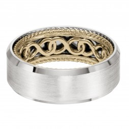 Men's Wedding Band With Infinity Pattern With Rope Edge Inside And Flat Profile With Bevel Edge. Available In Multiple White, Yellow And Rose Gold Color Combinations.