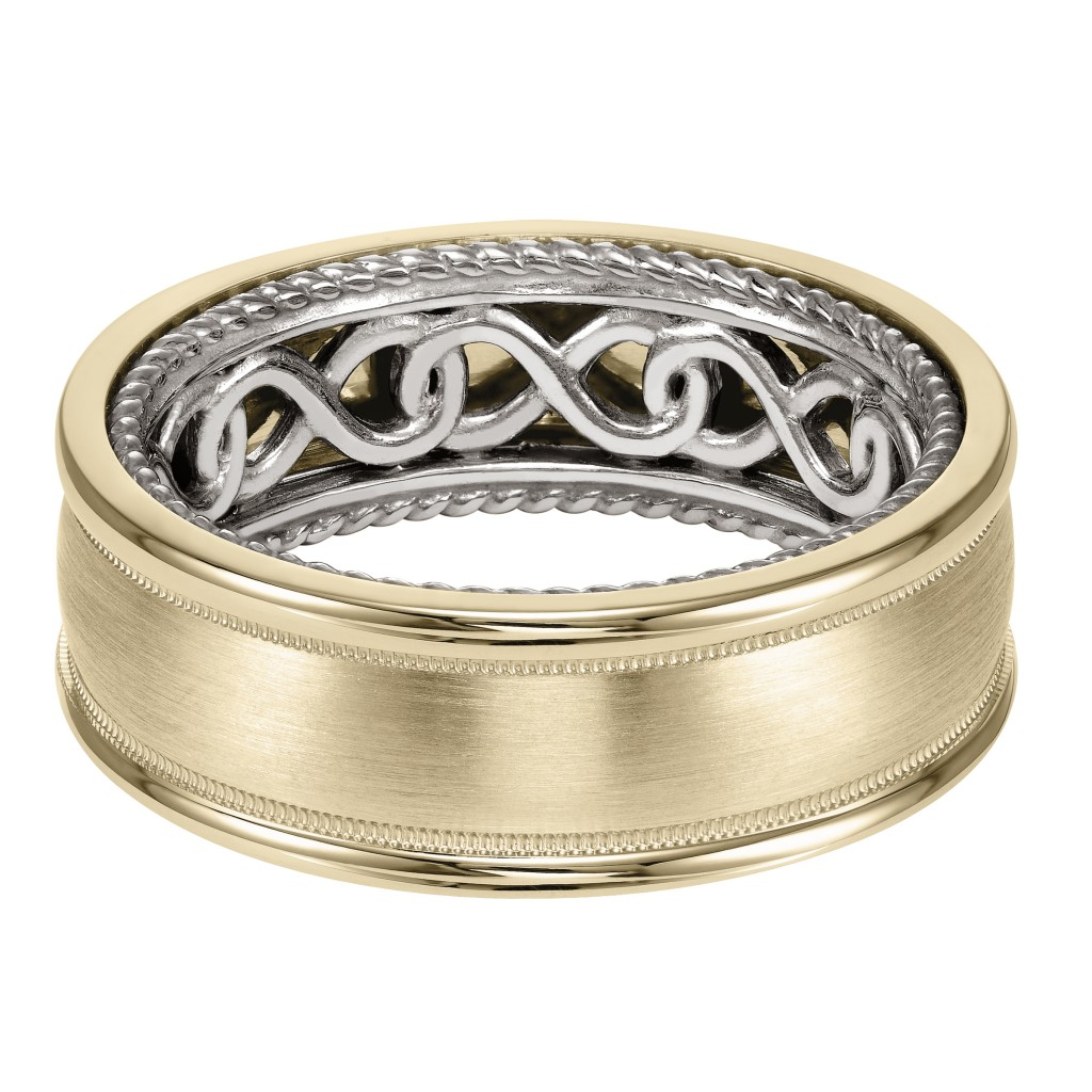 Men's Wedding Band With Infinity Pattern With Rope Edge Inside And Dome Profile With Milgrain Detail And Dome Edge. Available In Multiple White, Yellow And Rose Gold Color Combinations.