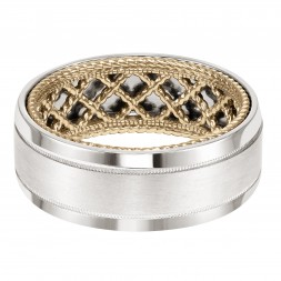 Men's Wedding Band With Net Pattern And Rope Edge Inside And Flat Profile With Milgrain Detail And Bevel Edge. Available In Multiple White, Yellow And Rose Gold Color Combinations.