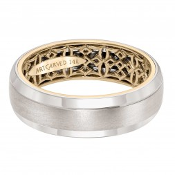 Men's Wedding Band With Geometric Pattern, Satin Finish And Dome Profile And Round Edges