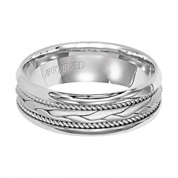 Comfort Fit Engraved Wedding Band With Woven Design Milgrain And Rounded Edges