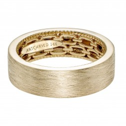 Men's Wedding Band With Double Chain Link Pattern And Coin Edging, Wire Finish And Flat Profile