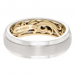 Men's Wedding Band With A Scrollwork Pattern, Satin Finish With Dome Profile And Round Edges