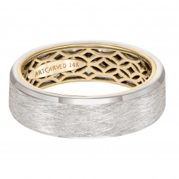 Men's Wedding Band With Geometric Pattern, Wire Finish And Flat Profile With Bevel Edges