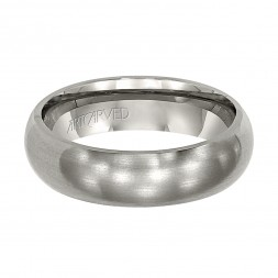 Comfort Fit Titanium Wedding Band With Domed Profile And Brushed Finish