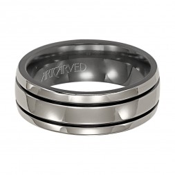 Comfort Fit Engraved Grey And Black Titanium Wedding Band
