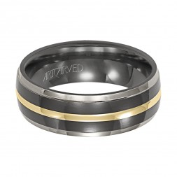 Comfort Fit Grey And Black Titanium Wedding Band With Yellow Gold Center Design And Flat Edges