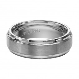 Comfort Fit Tungsten Carbide Wedding Band With Horizontal Brush Finish And Bright Step Edges