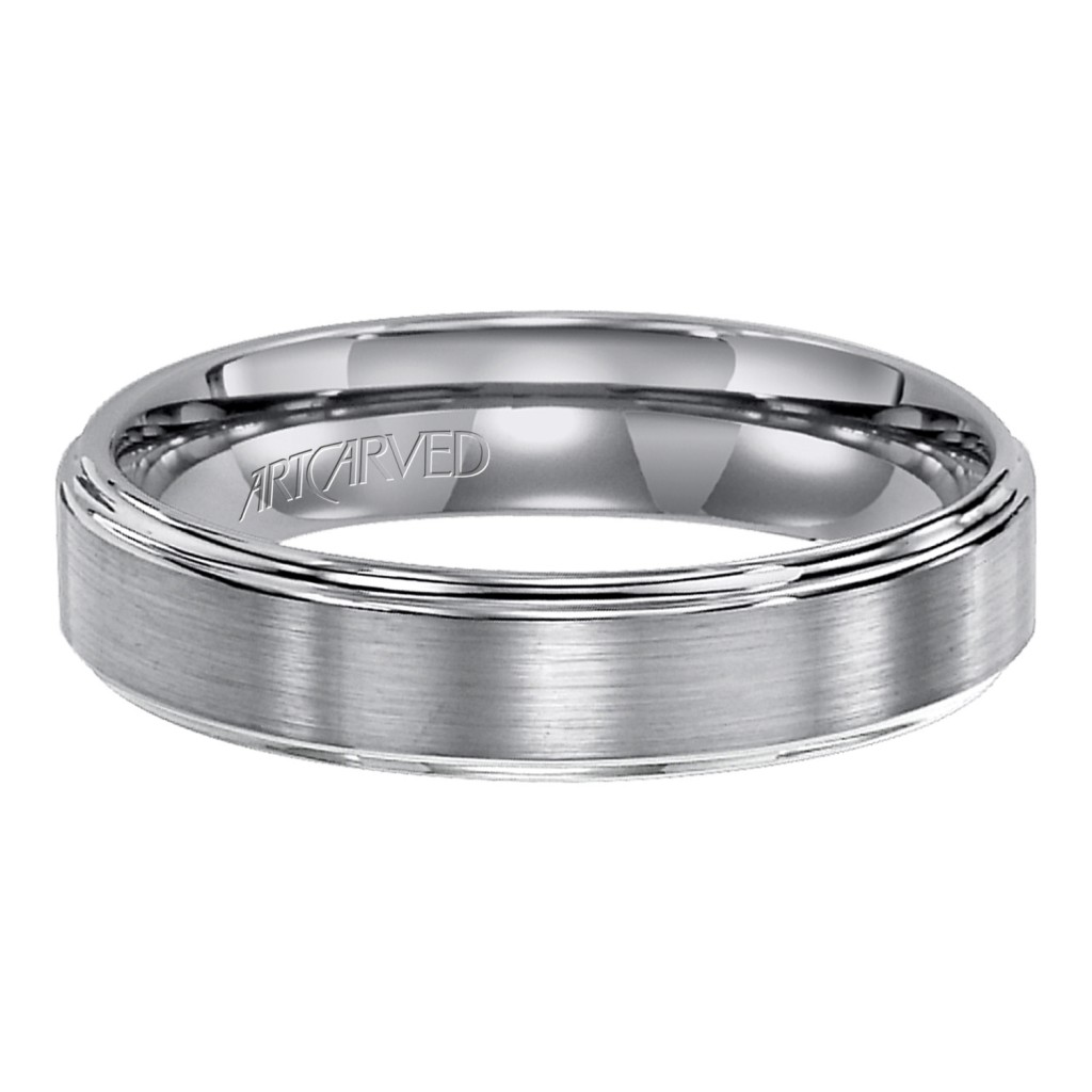 Tungsten Carbide Wedding Band With Satin Finish And Beveled Edges