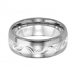 Comfort Fit Tungsten Carbide Wedding Band With Engraved Sterling Silver Center Inlay And Bright Rounded Edges