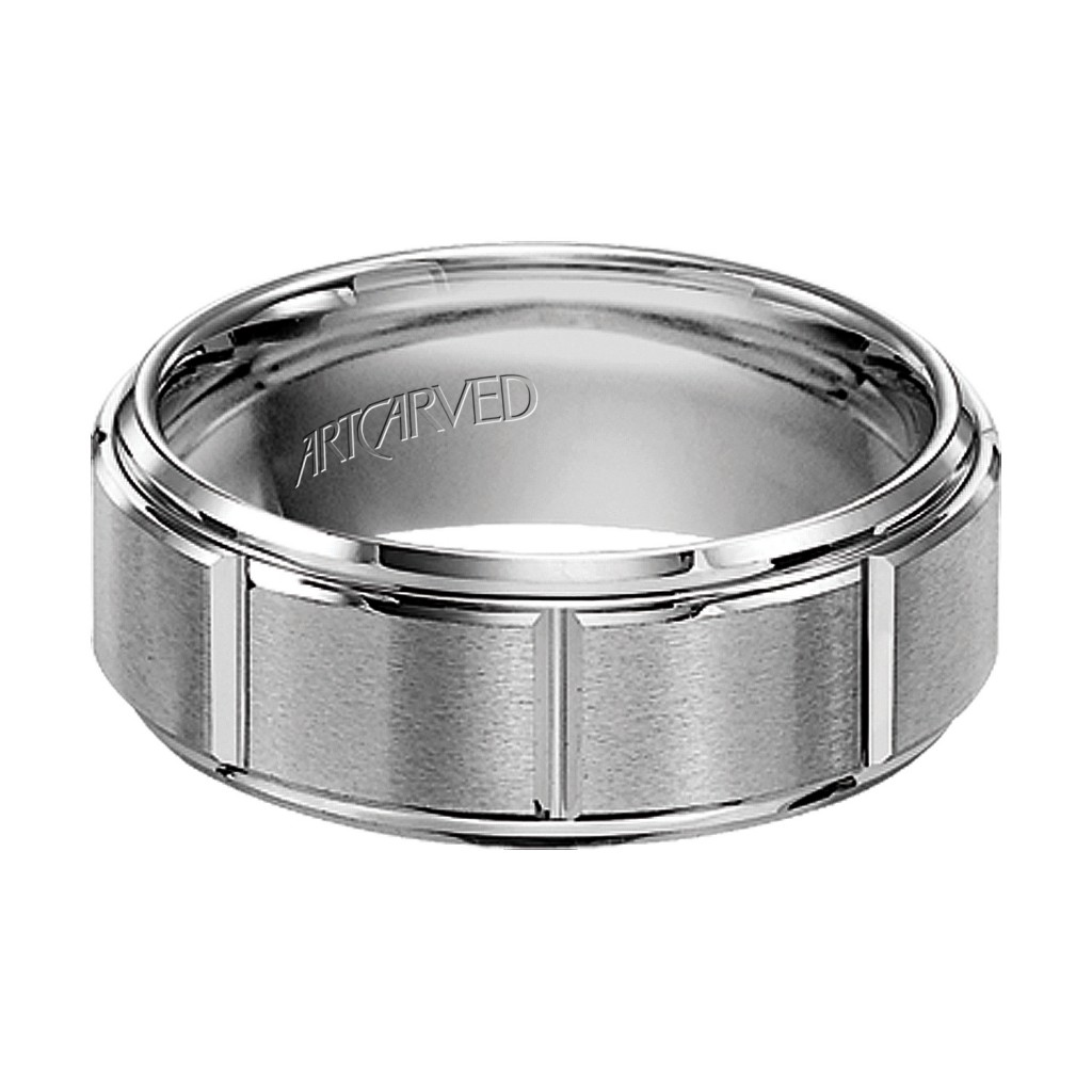 Tungsten Carbide Wedding Band With Rolled Edges
