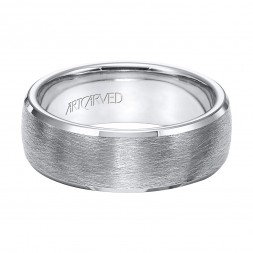 Tungsten Carbide Wedding Band With Wire Brushed Finish