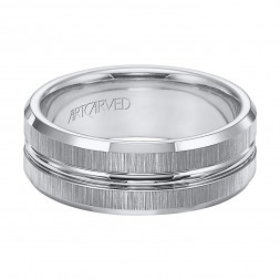 Tungsten Carbide Engraved Rim Inlay With Vertical Satin Finish