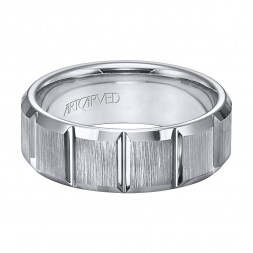 Comfort Fit Tungsten Carbide Wedding Band With Modern Vertical Cuts And Vertical Brushed Finish