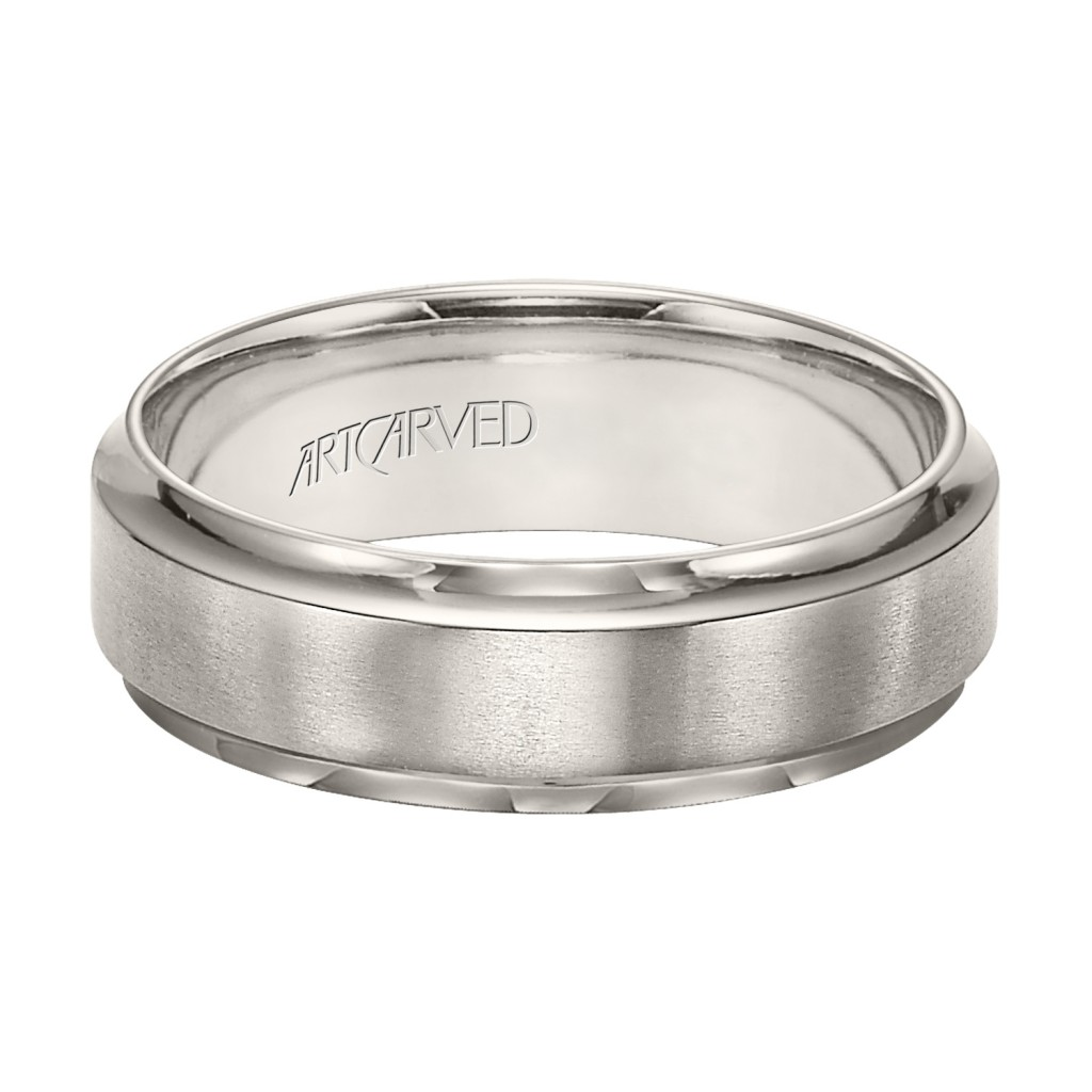 Comfort Fit Titanium Wedding Band With Horizontal Brushed Finish And Bright Stepped Edges