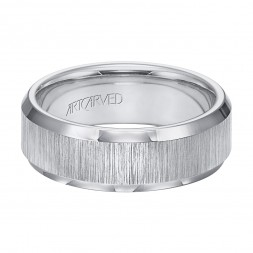 Tungsten Carbide Wedding Band With Vertical Satin Finish And Beveled Edges
