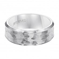 Comfort Fit Tungsten Carbide Wedding Band With Hammered Brushed Finish And Beveled Edges