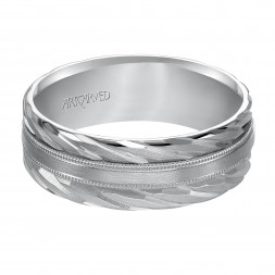 Wedding Band With Mate Finish And A Double Rope Designs With Milgrain Accent In The Center