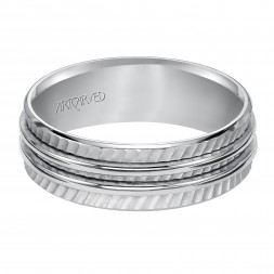 Wedding Band With Diagonal Textural Mate Finish And Two Ridges In The Center