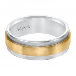 Concave Soft Sand And Satin Finished Bevel Edges Comfort Fit Wedding Band