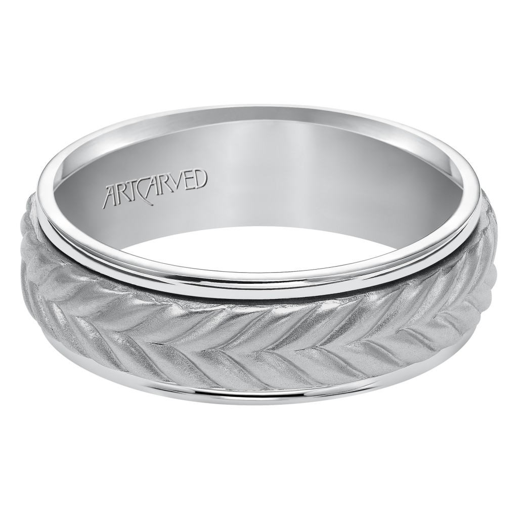 Wedding Band Consisting Of A Woven Center Motif And Flat Bright Rims