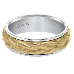 Wedding Band Consisting Of A Rope Center Motif And Flat Bright Rims