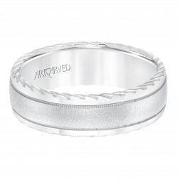 Men's Wedding Band With Soft Sand Finish And Round Edge, Rope Treatment On The Side With Milgrain Accent And Low Dome Profile.