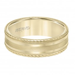 Men's Wedding Band With Serrated And Bright Finish Rope Edge , Milgrain Treatment On The Side And Top With A Flat Profile.