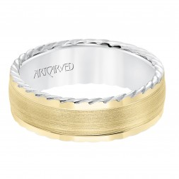 Men's Wedding Band With Serrated Finish And Round Edge, Rope Treatment On The Side With A Low Dome Profile.
