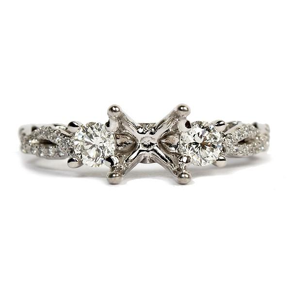 Diamond Three Stone Semi-Mount Engagement Ring by Verragio (INS-7055R)