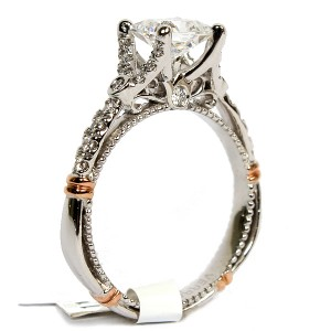 14K White and Rose Gold Diamond Semi-Mount Engagement Ring by Verragio (D126P0GOLD)