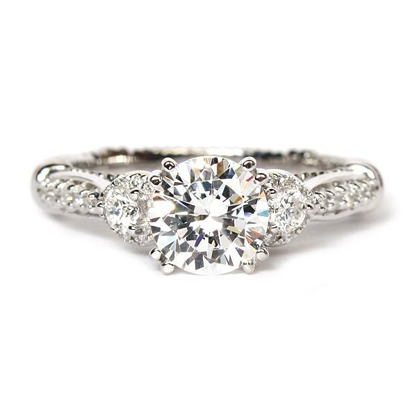 Parisian Three-Stone Diamond Semi-Mount Engagement Ring by Verragio (D128GOLD)