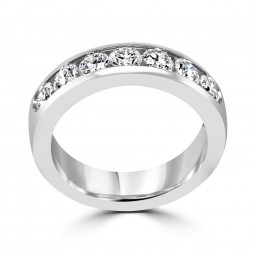 14K white gold channel set anniversary band 7rd=1.50tw (SI1,H) Size 8