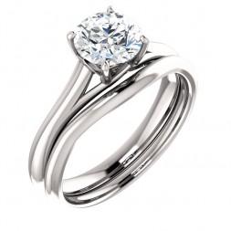 14K White 6.5 mm Round Engagement Ring
