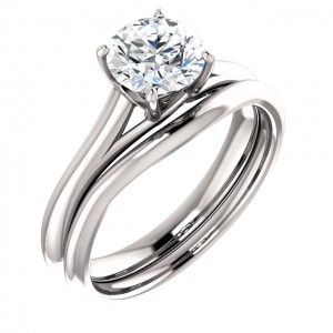 14K White 6.5 mm Round Engagement Ring