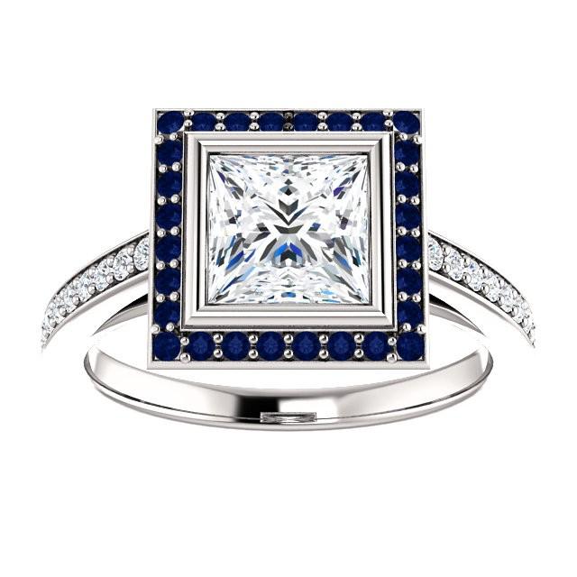 Moissanite Diamond and Sapphire Ring
