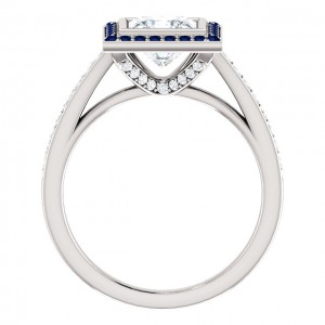 Moissanite Diamond and Sapphire Ring