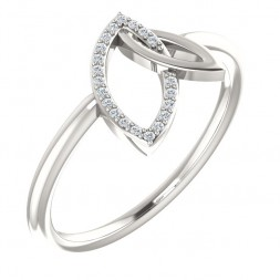 Sterling Silver .05 CTW Diamond Double Leaf Ring