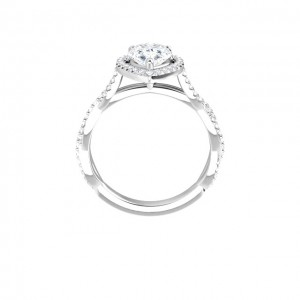 14K White 9x6 mm Pear Engagement Ring
